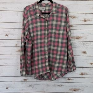 Bass Pink & Gray Plaid High Low Shirt Size XXL